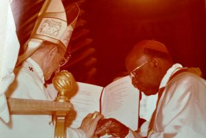 Archbishop Emmanuel Nsubuga being elevated to the rank of Cardinal Priest in Rome