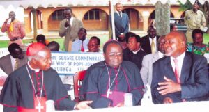 This was the moment, in 2007, when SAAFU was officially launched by Vice President, Prof Gilbert B. Bukenya (third from left) Cardinal Wamala (first from left), flanks Archbishop Kizito Lwanga